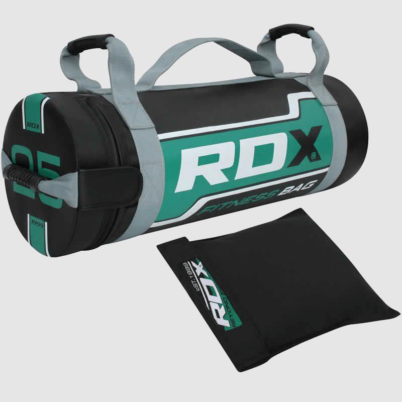 Fabricante y proveedor de sacos de arena para entrenamiento de fuerza de 25 kg en verde y negro al por mayor en Europa y el Reino Unido.