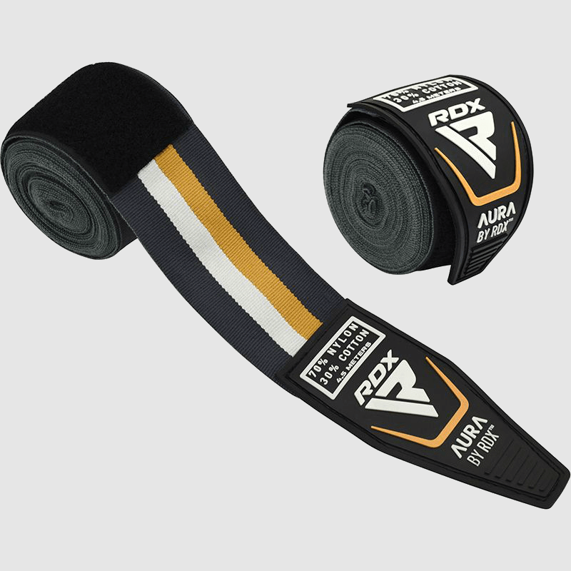 Wholesale 4.5M Boxing & MMA Hand Protection Wraps in Pearl Grey / White / Golden Bulk Supplier & Manufacturer UK Europe USA