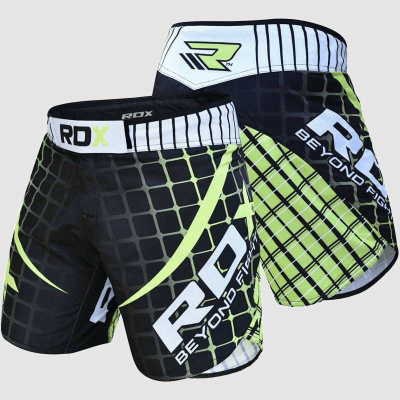 Atacado MMA Fight Shorts in Green / White / Black Polyester Fabricante & Fornecedor Supplier UK Europa EUA