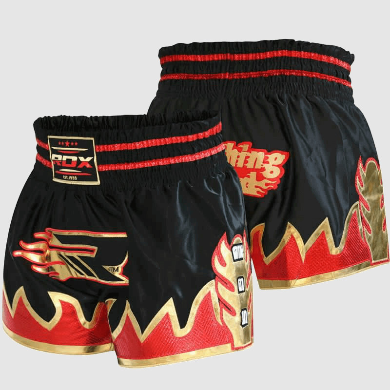 Wholesale Satin Muay Thai Fight Shorts in Red / Black Manufacturer & Bulk Supplier UK Europe USA
