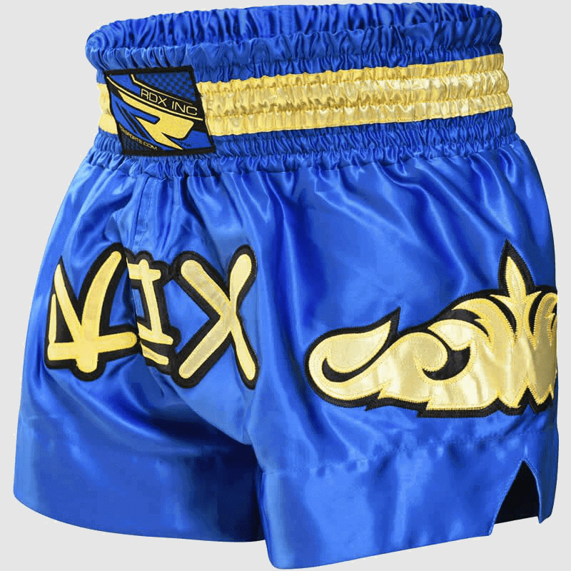 Wholesale Fire Satin Muay Thai & Boxing Training Shorts in Blue & Gold Manufacturer & Bulk Supplier UK Europe USA