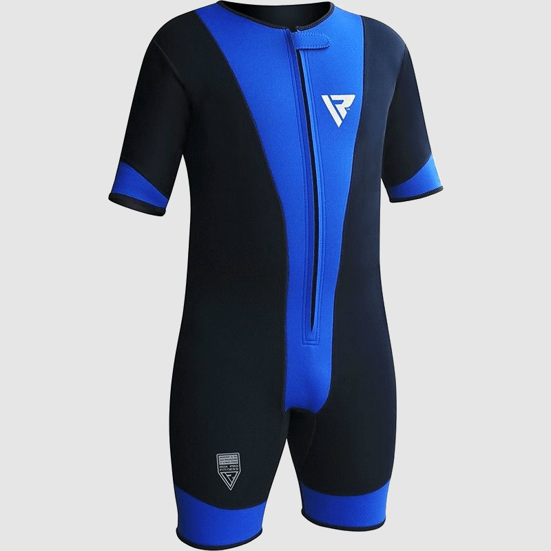 Wholesale Neoprene Compression Sweat Sauna Suit for Weight Loss in Blue / Black Manufacturer & Bulk Supplier UK Europe USA
