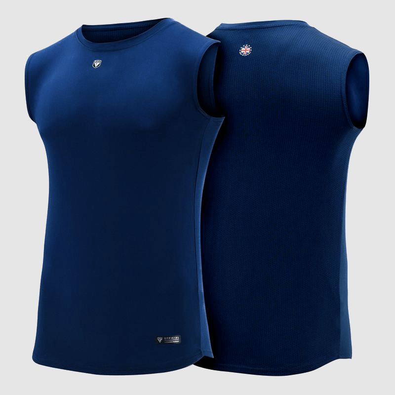 Fabricante y proveedor de camisetas sin mangas de poliéster azul al por mayor Reino Unido, Europa, EE.UU.