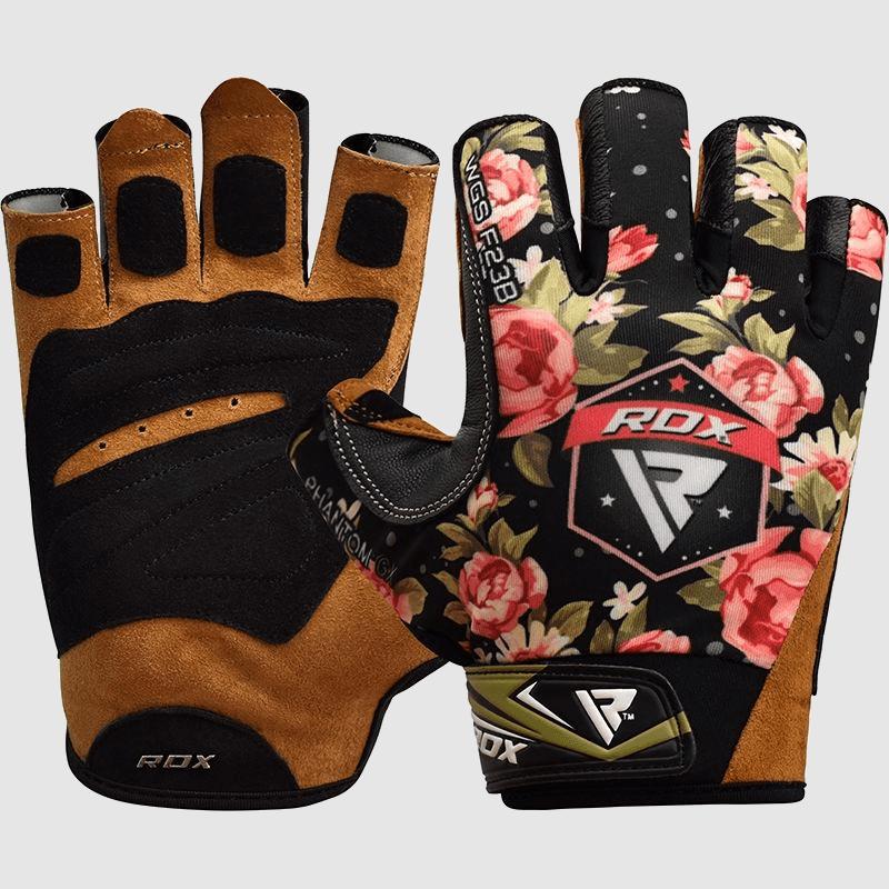 Wholesale Ladies Floral Flower Design Half Finger Gym Workout Weightlifting Fitness Women Gloves Bulk Supplier & Manufacturer UK Europe USA