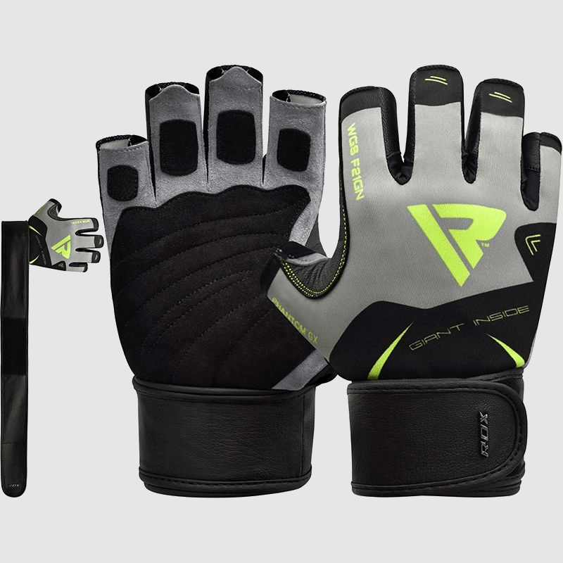 Wholesale Half Finger Long Strap Green Gym Workout Fitness Weight Lifting Gloves Bulk Supplier & Manufacturer UK Europe USA