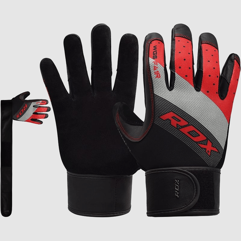 Wholesale Full Finger Red Long Strap Gym Workout Fitness Weightlifting Gloves Bulk Supplier & Manufacturer UK Europe USA