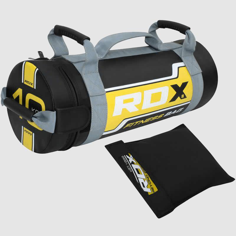 Fabricante y proveedor de sacos de arena para entrenamiento de fuerza de 10 kg en amarillo y negro al por mayor en Europa y el Reino Unido.