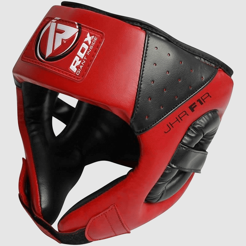 Wholesale Open Face Head Protection Guard in Red / Blue Maya Hide Bulk Supplier Manufacturer UK Europe USA