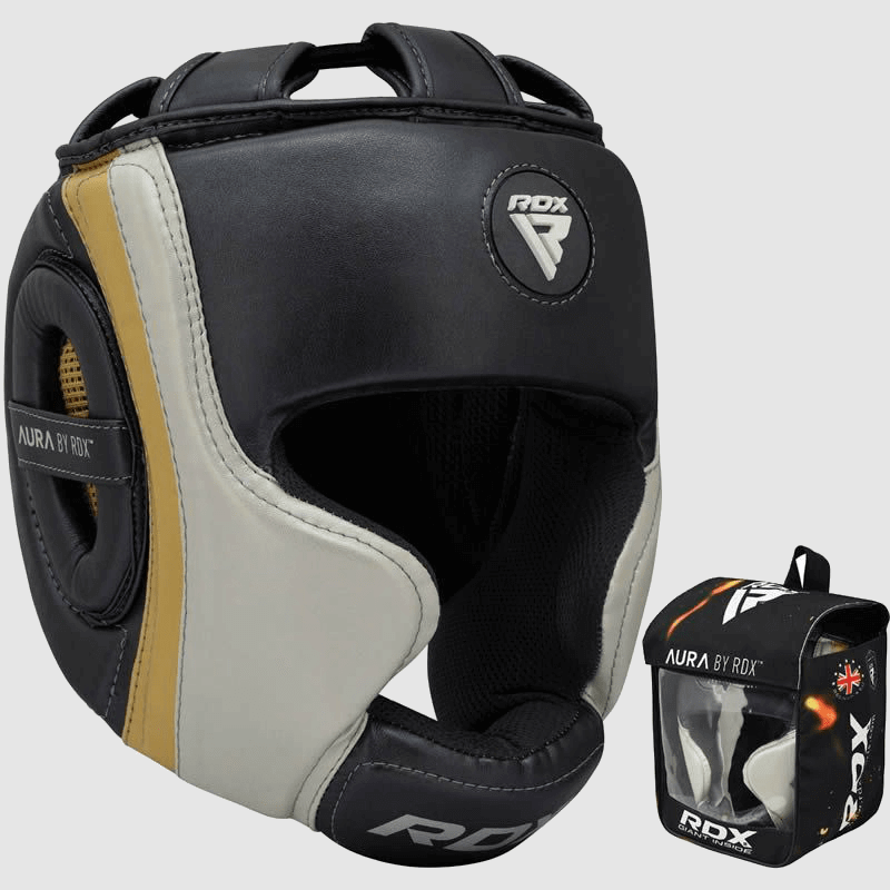 Wholesale Boxing MMA Head Guard in Pearl Grey / White / Golden Maya Hide Bulk Supplier Manufacturer UK Europe USA