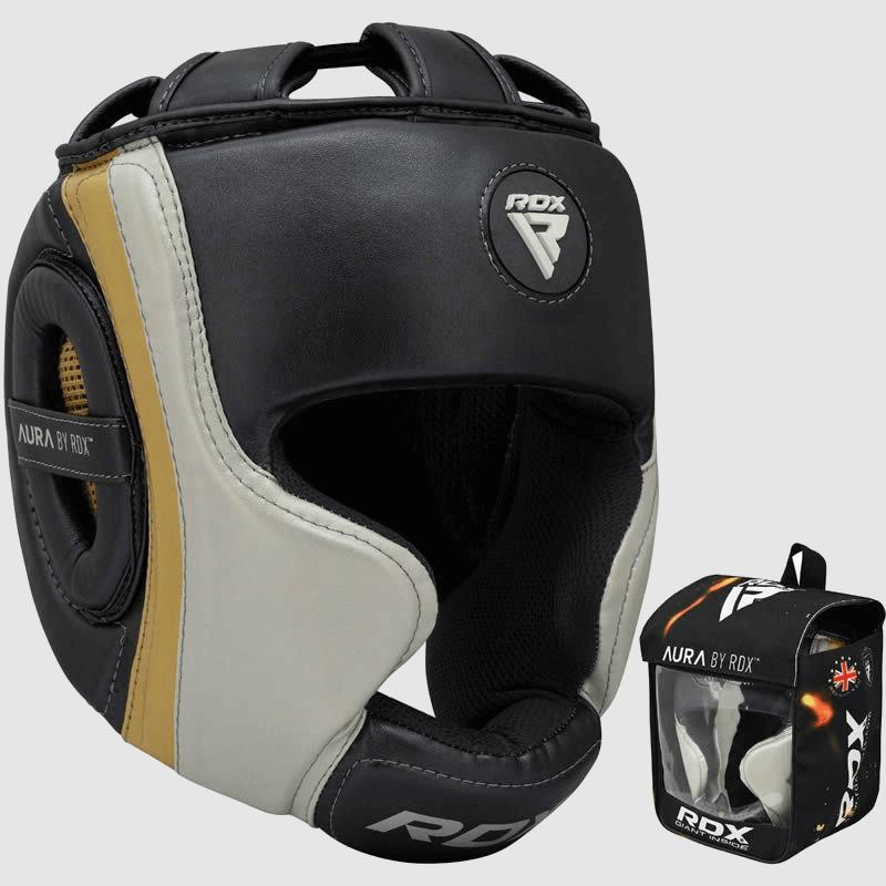 Atacado Boxe MMA Fabricante de Proteção de Cabeça em Cinza Pérola / Branco / Maia Dourada Esconde a Granel UK Europa EUA