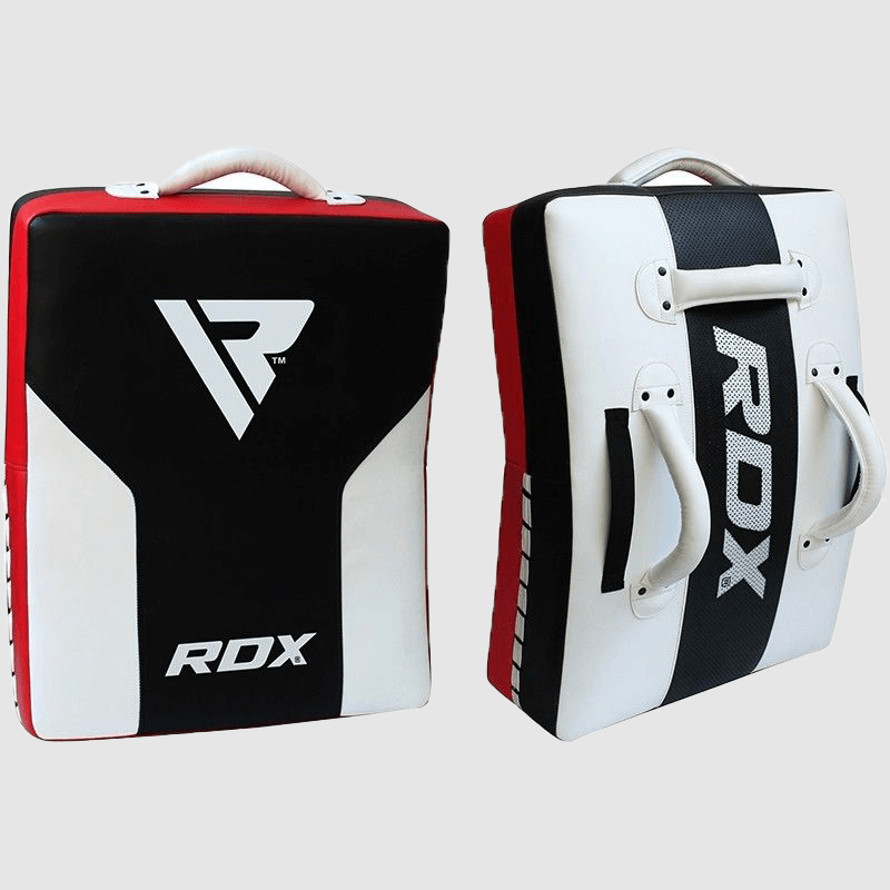 Wholesale Maya Hide MMA Curved Kick Shield with Grip Handles in White / Black / Red Manufacturer & Bulk Supplier UK Europe USA
